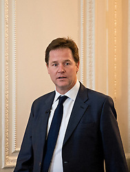 © London News Pictures. 11/12/2012. London, UK . British Deputy Prime Minister Nick Clegg arriving before speaking to members from lesbian, gay, bisexual and transgender groups at  the Institute of Contemporary Arts in London on December 11, 2012. The government today (11/12/2012) outlined plans to allow gay marriage. Photo credit: Ben Cawthra/LNP