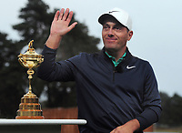 Golf - 2018 Sky Sports British Masters - Thursday, First Round<br /> <br /> Francesco Molinari of Italy with the Ryder Cup, at Walton Heath Golf Club.<br /> <br /> COLORSPORT/ANDREW COWIE