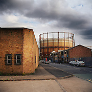 Victorian gasometer in the industrial wasteland of Hackney. East London. 2003. United Kingdom
