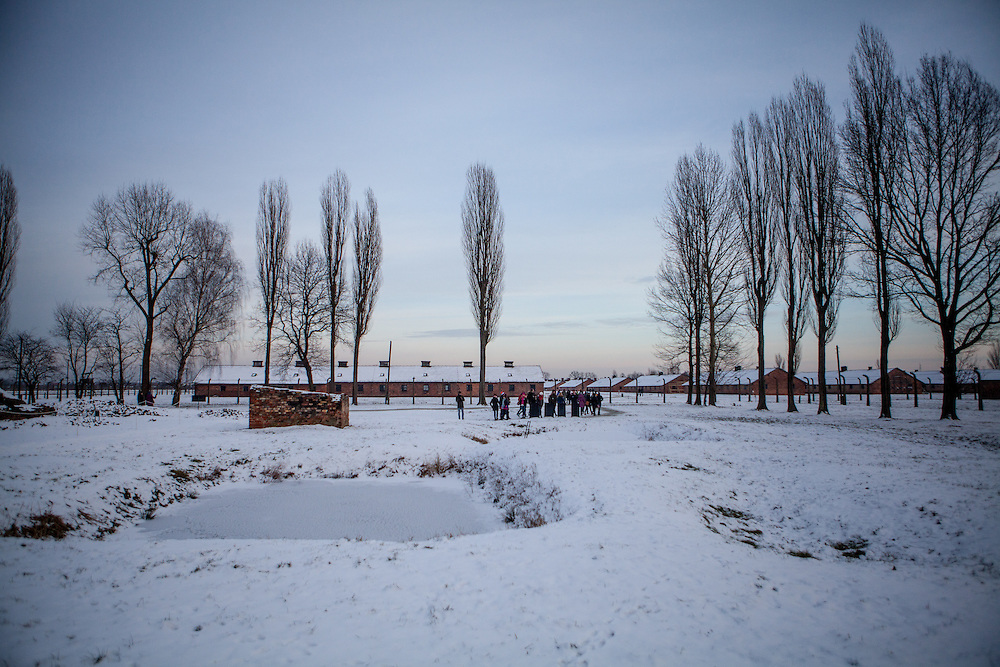 "A group of visitors beside the ruins of one of the crematoriums of Auschwitz II/Birkenau where lies a pond with 4 gravestones with the inscription in 4 different languages: ""To the memory of the men, women, and children who fell victim to the Nazi genocide. In this pond lie their ashes.  May their souls rest in peace.""."