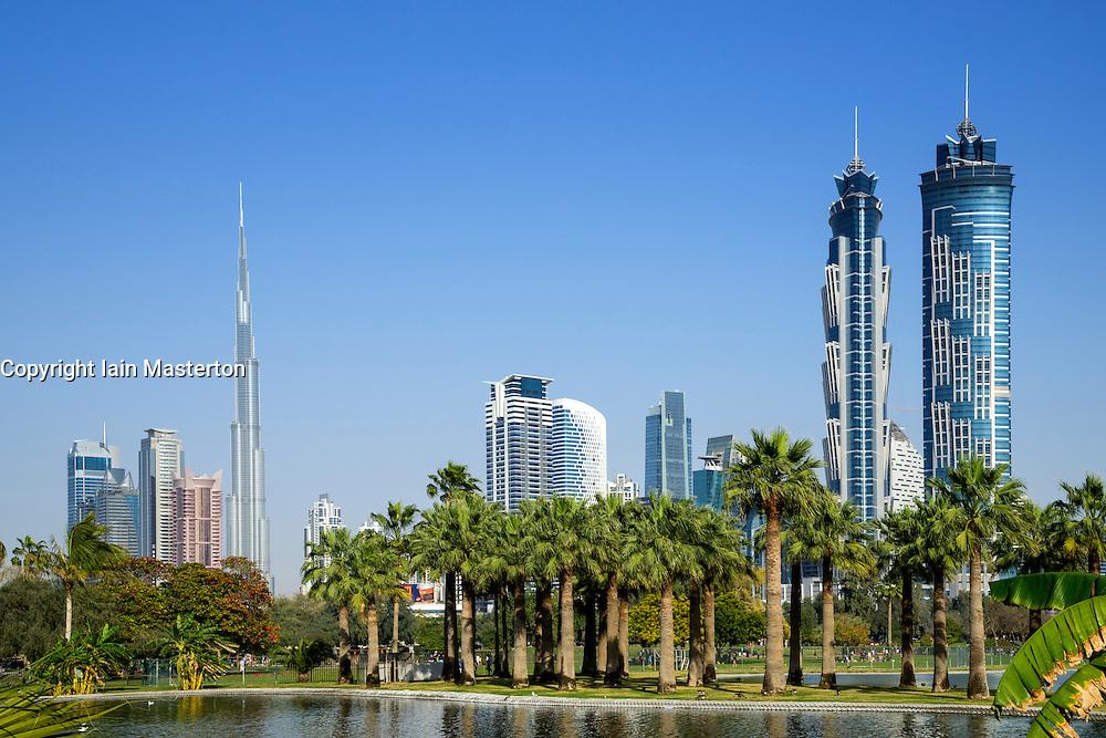 Skyline of Duabi from Al Safa Park in Dubai United Arab Emirates