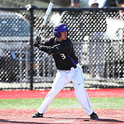 Geoff Seto #3 of the Niagara Purple Eagles looks for the pitch during the game at Friedman Diamond on March 16, 2014 in Brookline, Massachusetts. (Photo by Elan Kawesch)