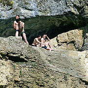 Kosovo, bathers enjoying a day out.