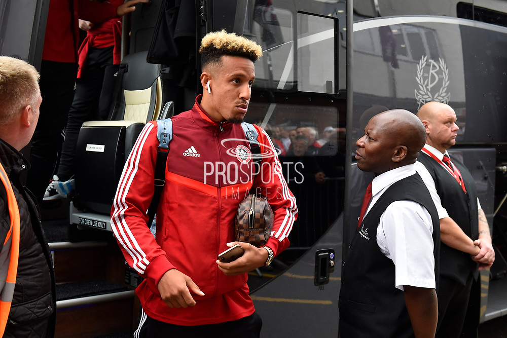 Callum Robinson (11) of Sheffield United gets off the team bus on arrival at the Vitality Stadium ahead of the Premier League match between Bournemouth and Sheffield United at the Vitality Stadium, Bournemouth, England on 10 August 2019.