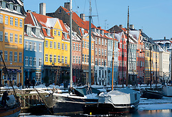 Winter view of famous Nyhavn harbour area in Copenhagen Denmark