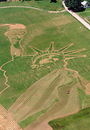 Work continued on the Statue of Liberty in a field  in Ellenville in an aerial photograph taken on Friday (June 30, 2000). Tom Bushey photo. June 30, 2000).