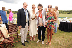 Asprey World Class Cup polo held at Hurtwood Park Polo Club, Ewhurst, Surrey on 17th July 2010.<br /> Picture shows:- PRINCE ALBERT OF MONACO, CHARLENE WITTSTOCK, RONNIE WOOD and ANA ARAUJO