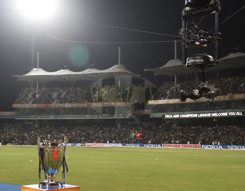The Spidercam in action during match 3 of the NOKIA Champions League T20 ( CLT20 )between the Chennai Superkings and the Mumbai Indians held at the M. A. Chidambaram Stadium in Chennai , Tamil Nadu, India on the 24th September 2011..Photo by Shaun Roy/BCCI/SPORTZPICS