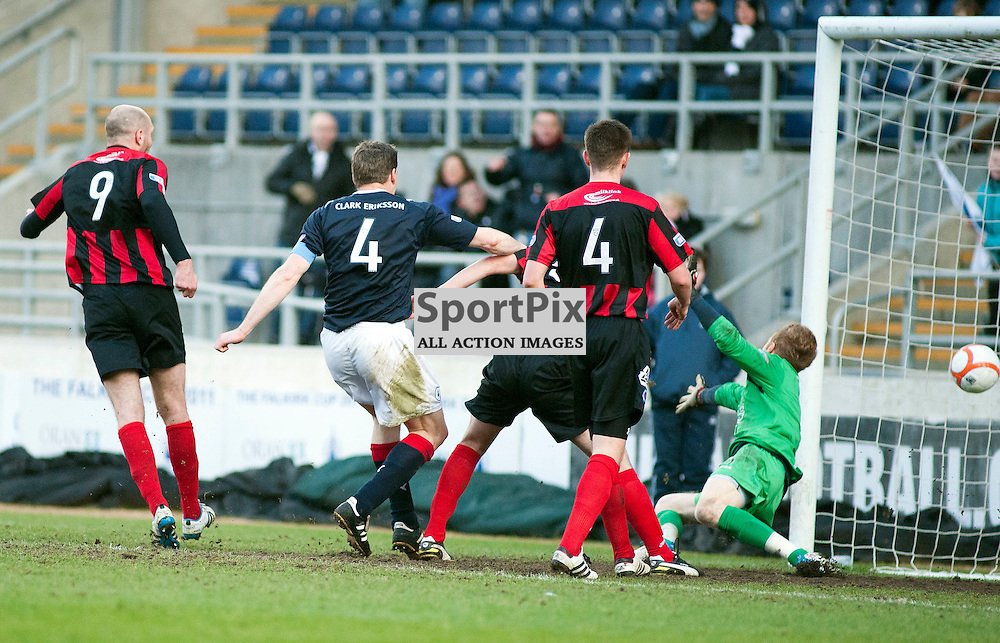 Darren Dods fires in the 3rd goal, Falkirk v QoS, SFL Division 1 League Match, Falkirk Stadium, 25/02/12