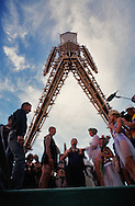 A wedding taking place under the Burningman..The Burningman festival on the playa near Black Rock in NE Nevada.