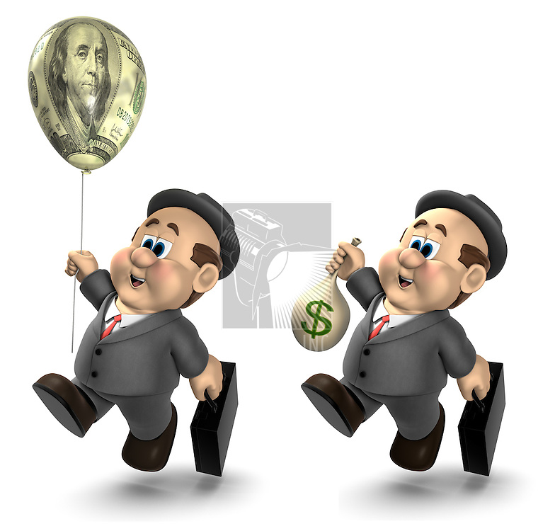 """Two versions of the 3D cartoon character """"Wilfred""""; one holding a bag of money and the other holding a helium balloon decorated with a $100 bill"""