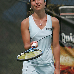 Margalita Chakhnashvili reacts to a line call in the third set of her match against Carly Gullickson during the finals of singles competition at the AT&T $25,000 Challenger USTA Pro Women's Tennis Circuit Tournament played on March 30, 2008 at Oak Knoll Country Club in Hammond, LA. Gullickson defeated Margalita in three sets 6-4, 4-6, 6-4 to win the AT&T 25K Challenger...
