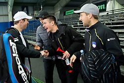 Grega Zemlja, Janez Semrajc, Mike Urbanija and Tom Kocevar-Desman of Slovenia after the 3rd match of Davis cup Slovenia vs. Portugal on February 1, 2014 in Kranj, Slovenia. Photo by Vid Ponikvar / Sportida