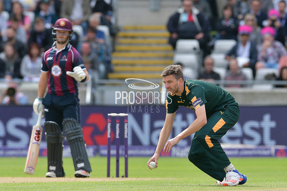 Harry Gurney fields off his own bowling during the NatWest T20 Finals Day 2016 match between Nottinghamshire County Cricket Club and Northamptonshire County Cricket Club at Edgbaston, Birmingham, United Kingdom on 20 August 2016. Photo by Simon Trafford.
