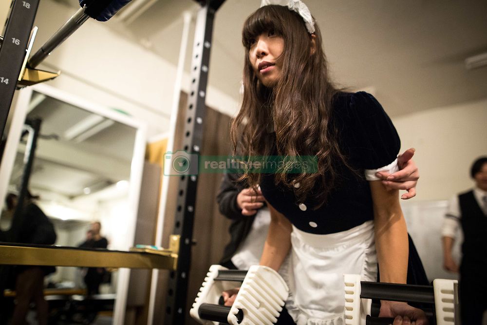 April 2, 2017 - Tokyo, Chiyoda-Ku, Japan - Ruby Hataoka one of the maid gym coach attends a training session during a workshop of gym instructors in Akihabara on April 2, 2017, Tokyo, Japan. Japan is unveiling a gym where you work out with and get coached by maids on one-on-one training assistance. Maid gym is now accepting advance reservation and it will be open first week of May 2017. (Credit Image: © Richard Atrero De Guzman/NurPhoto via ZUMA Press)