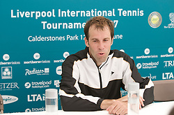 Liverpool, England - Tuesday, June 12, 2007: Greg Rusedski (GBR) during his post-match interview after beating qualifier Chris Llewellyn 6-4, 7-5 on day one of the Liverpool International Tennis Tournament at Calderstones Park. For more information visit www.liverpooltennis.co.uk. (Pic by David Rawcliffe/Propaganda)