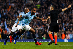 Raheem Sterling of Manchester City celebrates scoring a goal to make it 5-3 but the goal is ruled out by VAR for offside - Mandatory by-line: Robbie Stephenson/JMP - 17/04/2019 - FOOTBALL - Etihad Stadium - Manchester, England - Manchester City v Tottenham Hotspur - UEFA Champions League Quarter Final 2nd Leg