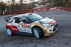 14.01.2014, Shakedownstrecke, Monte Carlo, FRA, FIA, WRC, Rallye Monte Carlo, Shakedown, im Bild MEEKE Kris / NAGLE Paul ( CITROEN TOTAL ABU DHABI WRT (FRA) / CITROEN DS3 ) // during the Shakedown of FIA Rallye Monte Carlo held near Monte Carlo, France on 2014/01/14. EXPA Pictures © 2014, PhotoCredit: EXPA/ Eibner-Pressefoto/ Neis<br /> <br /> *****ATTENTION - OUT of GER*****