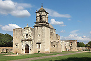West facade of the church, built 1768, at the Mission San Jose, or Mission San Jose y San Miguel de Aguayo, a Spanish catholic colonial mission and church originally established in 1720 and completed in 1782, to spread Christianity among Native Americans, the largest of 4 missions in the San Antonio Missions National Historical Park, in San Antonio, Texas, USA. The complex was home to 350 Indians and had its own mill and granary. It was restored in the 1930s and again in 2011. It forms part of the San Antonio Missions UNESCO World Heritage Site. Picture by Manuel Cohen