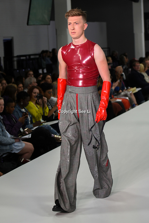 Designer Jack Capstick showcases lastest collection of Bath Spa University at the Graduate Fashion Week 2018, 4 June 4 2018 at Truman Brewery, London, UK.