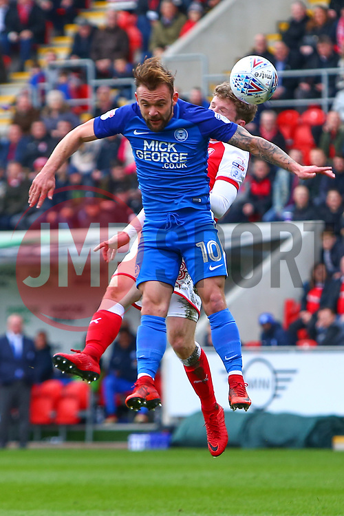 Danny Lloyd of Peterborough United heads the ball - Mandatory by-line: Ryan Crockett/JMP - 30/03/2018 - FOOTBALL - Aesseal New York Stadium - Rotherham, England - Rotherham United v Peterborough United - Sky Bet League One