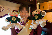 Eastern & Oriental Express. Aggie with E&O teddy bears.
