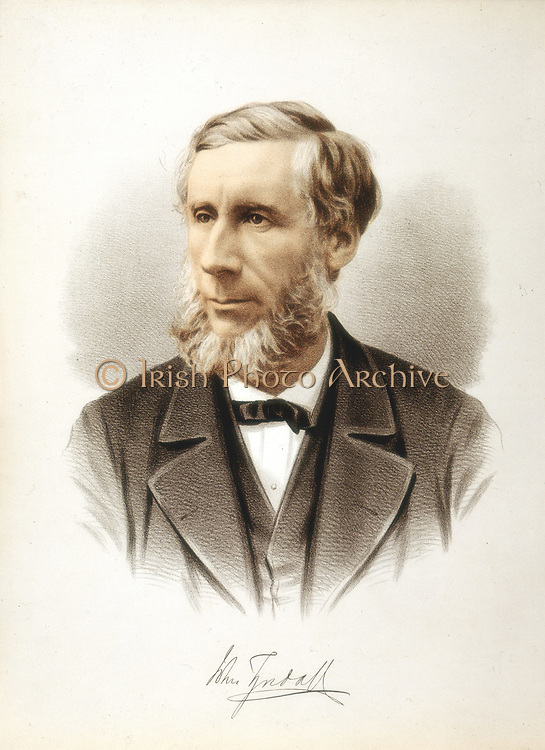 John Tyndall (1829-1893) Irish-born British physicist. Professor at Royal Institution, London. President of British association 1874. Died of accidental chloral poisoning. Tinted lithograph published London c1880.