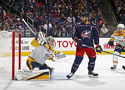 November 7, 2017 - Columbus, OH, USA - Nashville Predators goalie Pekka Rinne (35) makes a save in front of the Columbus Blue Jackets' Nick Foligno (71) during the first period at Nationwide Arena on November 7, 2017. (Credit Image: © Kyle Robertson/TNS via ZUMA Wire)