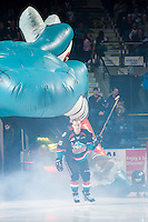 KELOWNA, CANADA - SEPTEMBER 24: Tomas Soustal #15 of the Kelowna Rockets enters the ice against the Kamloops Blazers on September 24, 2016 at Prospera Place in Kelowna, British Columbia, Canada.  (Photo by Marissa Baecker/Shoot the Breeze)  *** Local Caption *** Tomas Soustal;