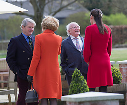 Irish President Michael Higgins and his wife Sabina visit Park House stables,Kingsclere,Berkshire , chat with Ian Balding and his daughter in law Anna Lisa Balding.Thursday, 10th April 2014. Picture by i-Images