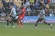 York City forward Emile Sinclair gets a shot off  during the Sky Bet League 2 match between Notts County and York City at Meadow Lane, Nottingham, England on 26 September 2015. Photo by Simon Davies.