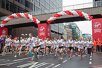 Mini London marathon 2015, The Girls Under 17 race starts at Billingsgate. The Virgin Money Giving Mini Marathon, Sunday 26th April 2015.<br />