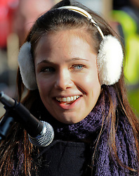 ©London News Pictures. 09/02/2011. Waterloo Road Actress and Equity member Ellie Paskell speaks at a rally against the Public Bodies Bill outside Parliament London on 9/2/2011. Photo credit should read: Peter Webb/London News Pictures
