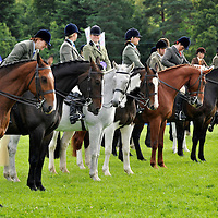 Blair Castle Horse Trials 2012 Photo Essay at Blair Castle, Blair Atholl, Perthshire. Riders and horses wait to be judged during a Ridden Hunter class.  Picture Christian Cooksey.