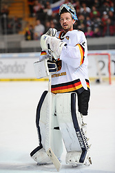 08.11.2014, Olympia Eisstadion, Muenchen, GER, IIHF, Deutschland Cup, Deutschland vs Slowakei, im Bild Timo Pielmeier (Torwart / Goalie Deutschland) // during the German Cup Match between Germany and Slowakia at the Olympia Eisstadion in Muenchen, Germany on 2014/11/08. EXPA Pictures © 2014, PhotoCredit: EXPA/ Eibner-Pressefoto/ Laegler<br /> <br /> *****ATTENTION - OUT of GER*****