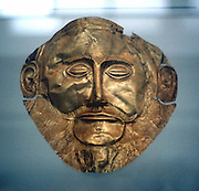 Agamemnon, legendary king of Mycenae and leader of the punitive Greek expedition against Troy. Gold funerary mask, Mycenae c1600-1500 BC reputed to be that of Agamemnon