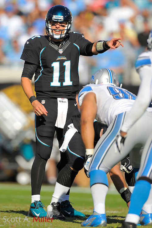 Jacksonville Jaguars quarterback Blaine Gabbert (11) during the Detroit Lions 31-14 win at EverBank Field on November 4, 2012 in Jacksonville, Florida. ..©2012 Scott A. Miller..