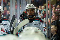 KELOWNA, BC - DECEMBER 27:  Noah Dorey #28 of the Kelowna Rockets stands on the bench during a time out against the Kamloops Blazers at Prospera Place on December 27, 2019 in Kelowna, Canada. (Photo by Marissa Baecker/Shoot the Breeze)