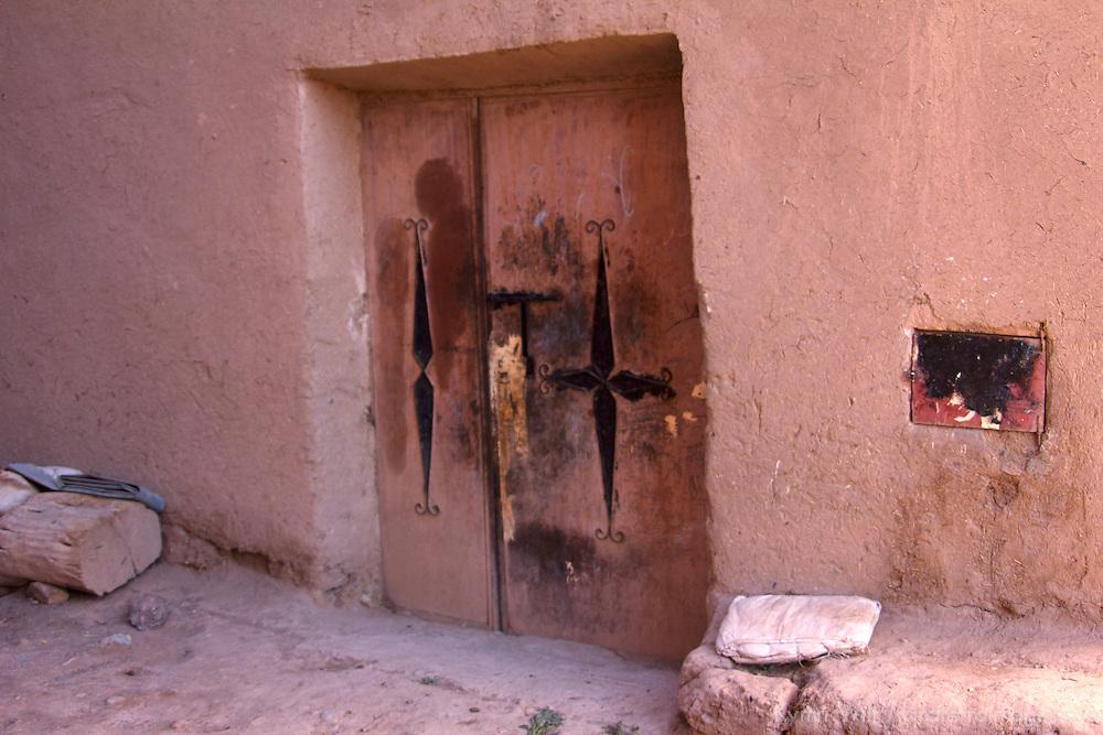Africa, Morocco, Skoura. Moroccan Door of Kasbah.