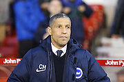 Brighton Manager, Chris Hughton  during the Sky Bet Championship match between Nottingham Forest and Brighton and Hove Albion at the City Ground, Nottingham, England on 11 April 2016. Photo by Simon Davies.