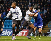 Bury FC Defender Nathan Cameron gets held in the box during the Sky Bet League 1 match between Gillingham and Bury at the MEMS Priestfield Stadium, Gillingham, England on 14 November 2015. Photo by Andy Walter.