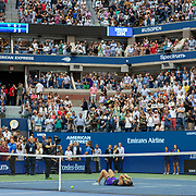 2019 US Open Tennis Tournament- Day Thirteen.    Bianca Andreescu of Canada celebrates her win against Serena Williams of the United States in the Women's Singles Final on Arthur Ashe Stadium during the 2019 US Open Tennis Tournament at the USTA Billie Jean King National Tennis Center on September 7th, 2019 in Flushing, Queens, New York City.  (Photo by Tim Clayton/Corbis via Getty Images)