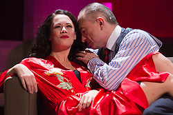 "© Licensed to London News Pictures. 01/11/2013. London, England. Pictured: Sarah Armstrong as Christine Keeler and Michael Good as John Profumo. The play ""Keeler"", the inside story of the Profumo Affair based on the book ""The Truth at Last"" by Christine Keeler opens at the Charing Cross Theatre with Sarah Armstrong as Christine Keeler and Paul Nicholas as Stephen Ward. The play is scheduled to run from 31 October to 14 December 2013. Photo credit: Bettina Strenske/LNP"