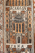 Detail of a Byzantine floor mosaic depicting Ashkelon, from the cycle showing 15 major cities of the Holy Land from both east and west of the River Jordan, 756-785 AD, from the Church of St Stephen, Umm ar-Rasas, Amman, Jordan. Six mosaic masters signed the mosaic floor, Staurachios from Esbus, Euremios, Elias, Constantinus, Germanus and Abdela. They completed the mosaics at the time of Bishop Sergius II in honour of St Stephen. The church has an apse and an elevated presbytery and forms part of an ecclesiastical complex of 4 churches. Umm ar-Rasas is a rectangular walled city which grew from a Roman military camp in the Jordanian desert. Its remains date from the Roman, Byzantine and Umayyad periods (3rd - 9th centuries), including 16 churches with mosaic floors. Excavations began in 1986, although most of the site remains unexplored. It was declared a UNESCO World Heritage Site in 2004. Picture by Manuel Cohen