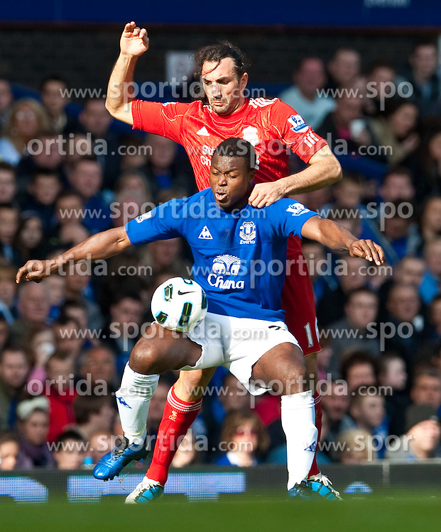 17.10.2010, Goodison Park, Liverpool, ENG, PL, Everton FC vs Liverpool FC, im Bild Liverpool's Sotirios Kyrgiakos and Everton's Ayegbeni Yakubu during the 214th Merseyside Derby match at Goodison Park, EXPA Pictures © 2010, PhotoCredit: EXPA/ Propaganda/ D. Rawcliffe *** ATTENTION *** UK OUT!