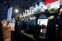 Nederland. Rotterdam, 24 augustus 2012.<br /> De PVV aftrap voor de campagne voor de landelijke verkiezingen voor de TweedeKamer. Zaal in Ahoy'. Geert Wilders, Partij voor de Vrijheid, politiek, democratie, populisme