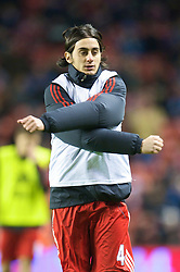 LIVERPOOL, ENGLAND - Saturday, December 26, 2009: Liverpool's Alberto Aquilani warms up for his full league debut, the Premiership match against Wolverhampton Wanderers at Anfield. (Photo by: David Rawcliffe/Propaganda)