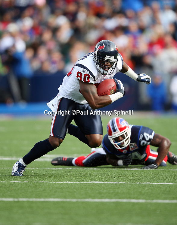 Houston Texans wide receiver Andre Johnson (80) catches a pass for a six yard gain in the first quarter during the NFL football game against the Buffalo Bills, November 1, 2009 in Orchard Park, New York. The Texans won the game 31-10. (©Paul Anthony Spinelli)