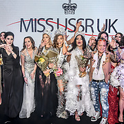 Julia Titova, Julia Sinitsina (2nd) Anhelina Chabanian (1st) and Laura Mukhtar (3rd)Ciro Orsini winner of Miss USSR UK 2019 2019 at Hilton Hotel Park Lane on 27 April 2019, London, UK.