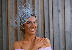 LIVERPOOL, ENGLAND - Thursday, April 6, 2017: Sarah Neill, 25 from Leyland, wearing House of Celebrity Boutique, during The Opening Day on Day One of the Aintree Grand National Festival 2017 at Aintree Racecourse. (Pic by David Rawcliffe/Propaganda)